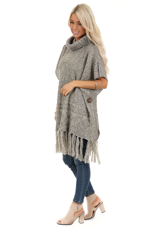 Soft Grey and Ivory Cowl Neck Poncho Top with Button Details side full body