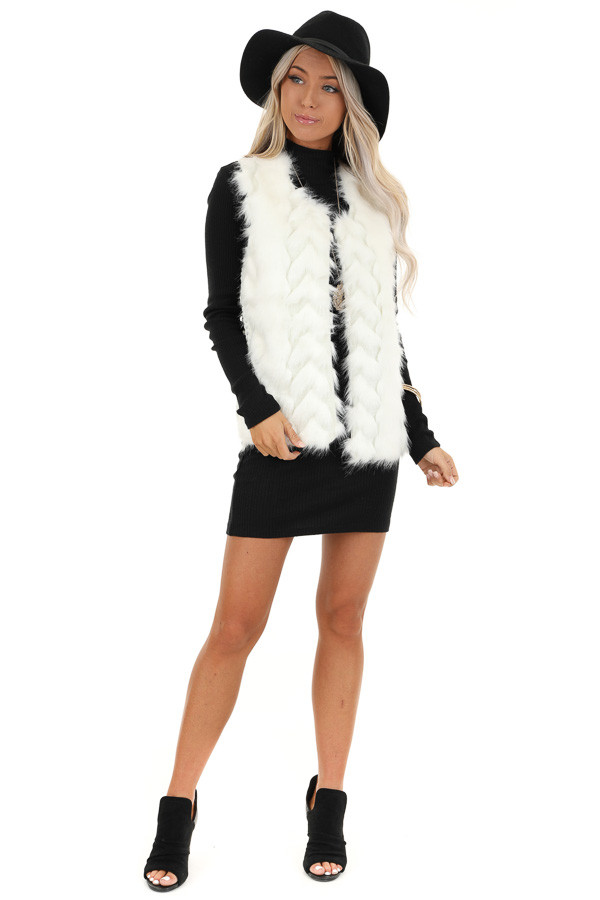 Ivory Faux Fur Vest with Cable Knit Back and Front Clasp front full body
