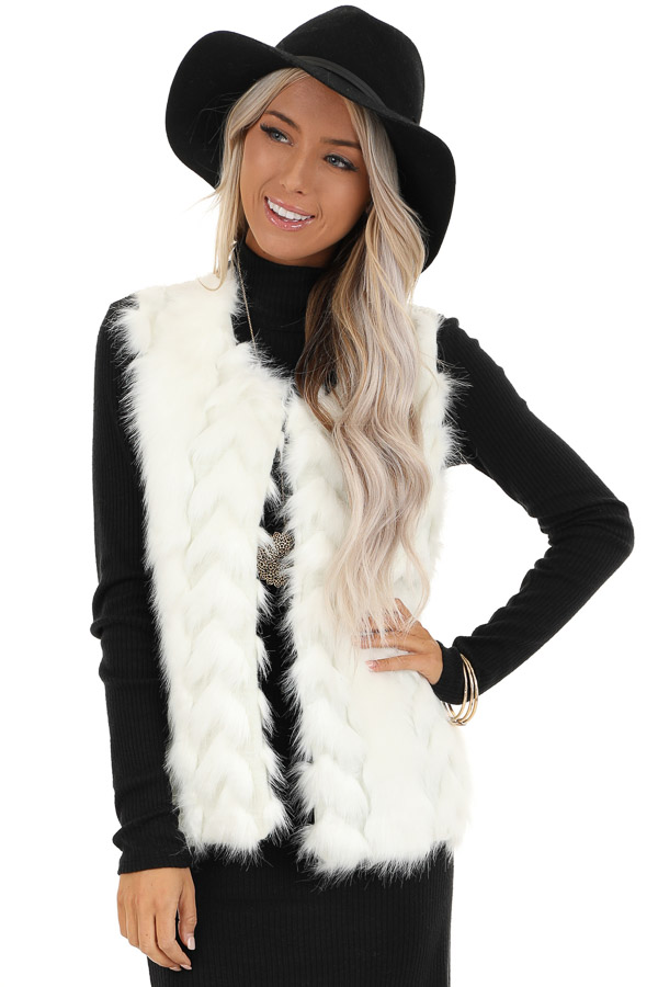 Ivory Faux Fur Vest with Cable Knit Back and Front Clasp front close up
