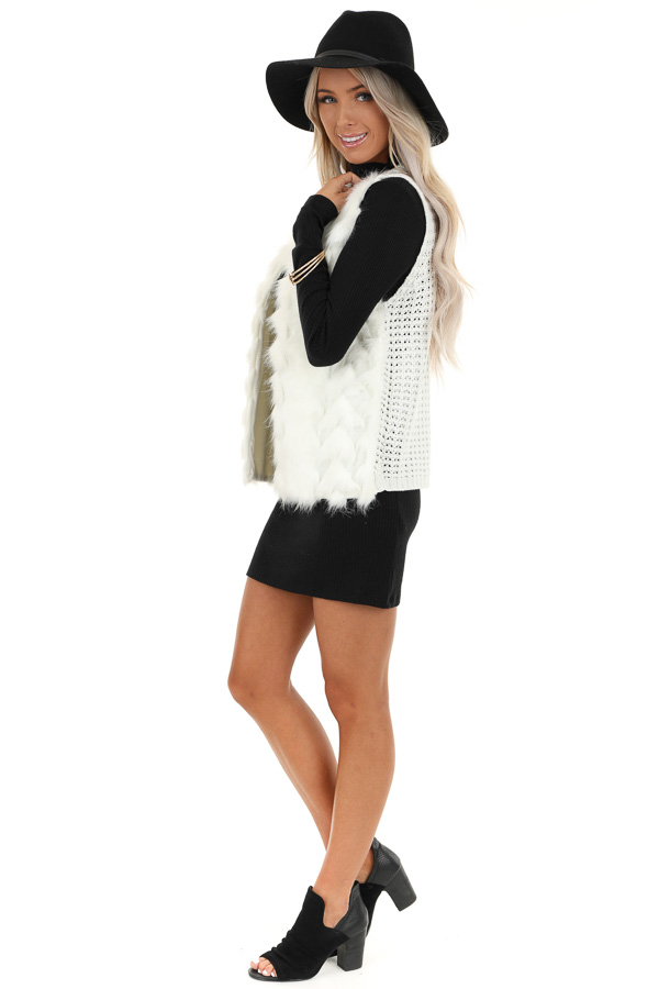 Ivory Faux Fur Vest with Cable Knit Back and Front Clasp side full body