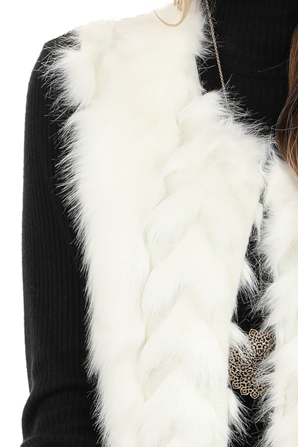 Ivory Faux Fur Vest with Cable Knit Back and Front Clasp detail