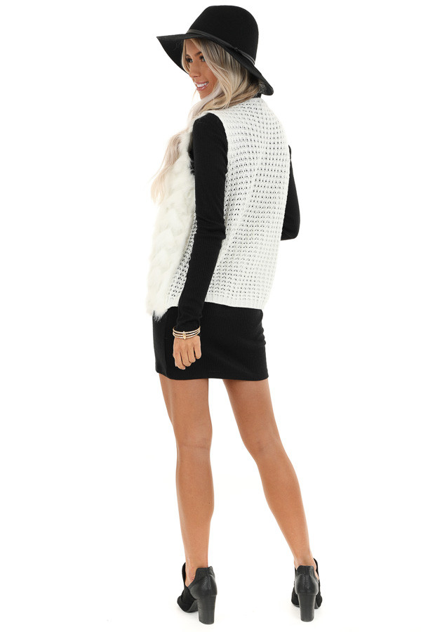 Ivory Faux Fur Vest with Cable Knit Back and Front Clasp back full body