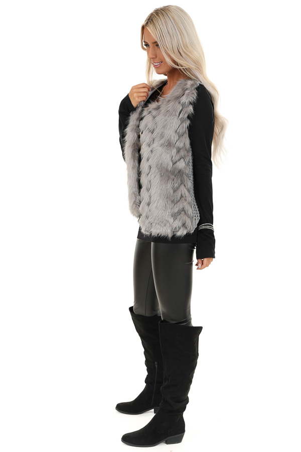 Charcoal Faux Fur Vest with Cable Knit Back and Front Clasp side full body