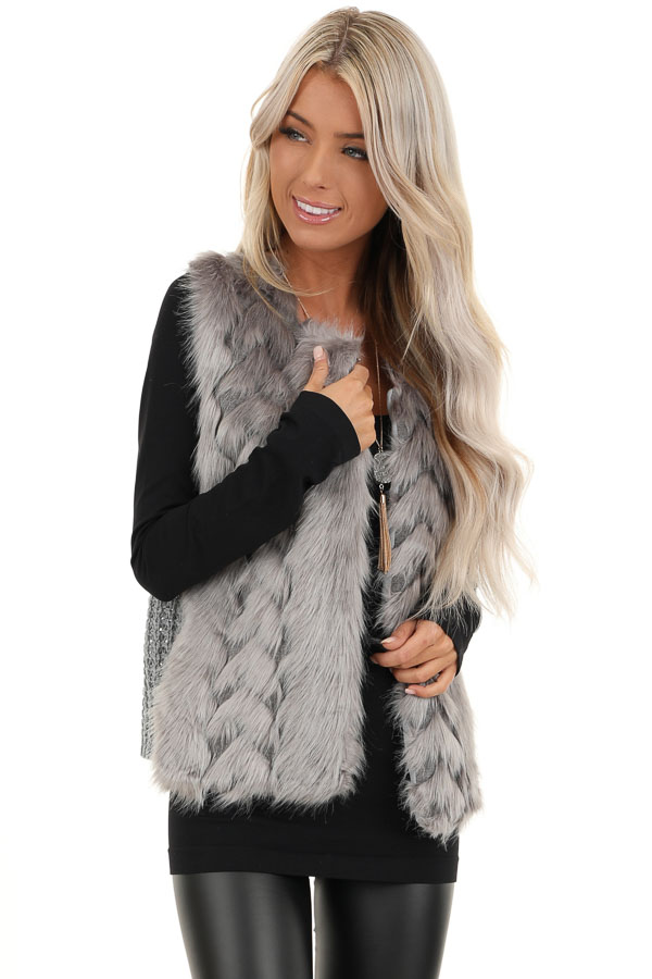 Charcoal Faux Fur Vest with Cable Knit Back and Front Clasp front close up