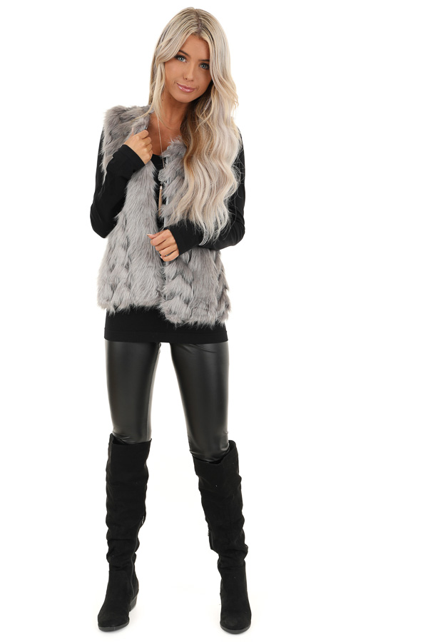 Charcoal Faux Fur Vest with Cable Knit Back and Front Clasp front full body
