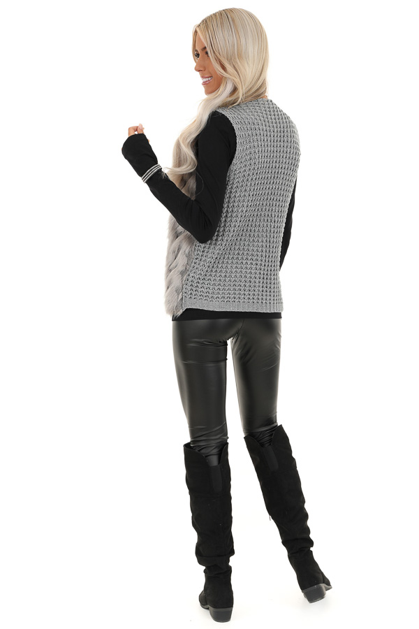Charcoal Faux Fur Vest with Cable Knit Back and Front Clasp back full body