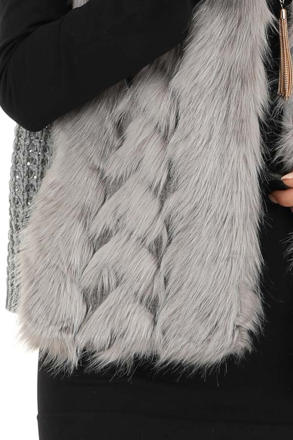 Charcoal Faux Fur Vest with Cable Knit Back and Front Clasp detail