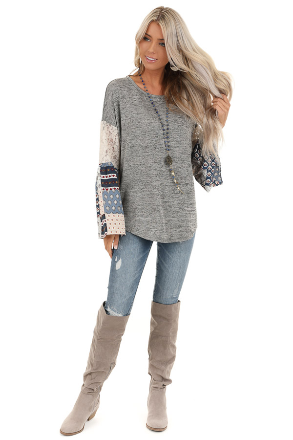 Stone Grey Top with Long Multi Print Sleeves and Lace Detail front full body