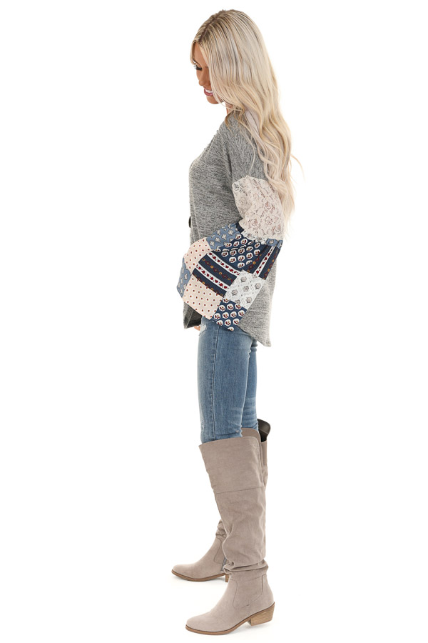 Stone Grey Top with Long Multi Print Sleeves and Lace Detail side full body