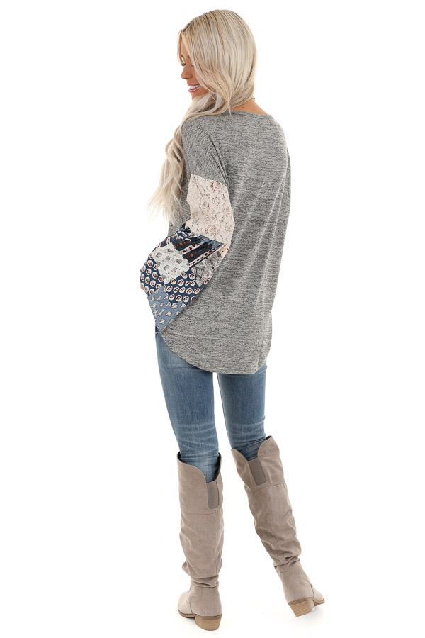 Stone Grey Top with Long Multi Print Sleeves and Lace Detail back full body