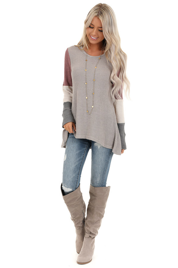 Taupe and Mauve Color Block Long Sleeve Waffle Knit Top front full body