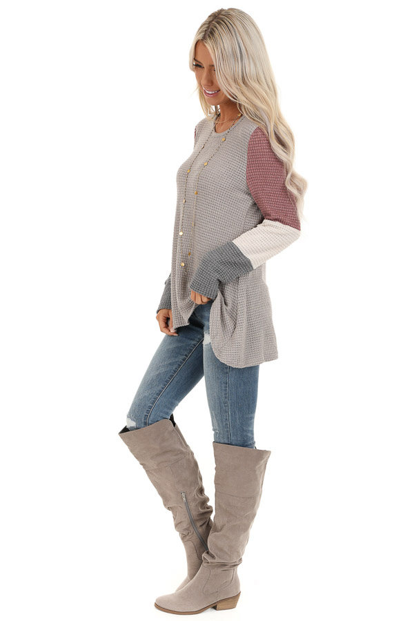 Taupe and Mauve Color Block Long Sleeve Waffle Knit Top side full body