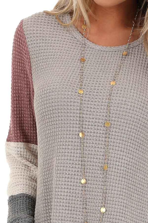 Taupe and Mauve Color Block Long Sleeve Waffle Knit Top detail