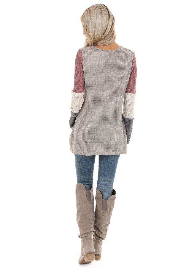 Taupe and Mauve Color Block Long Sleeve Waffle Knit Top back full body