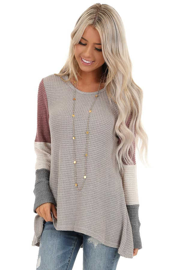 Taupe and Mauve Color Block Long Sleeve Waffle Knit Top front close up