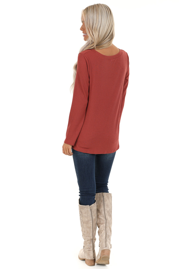 Brick Ribbed Knit Top with Long Sleeves and Twisted Hemline back full body