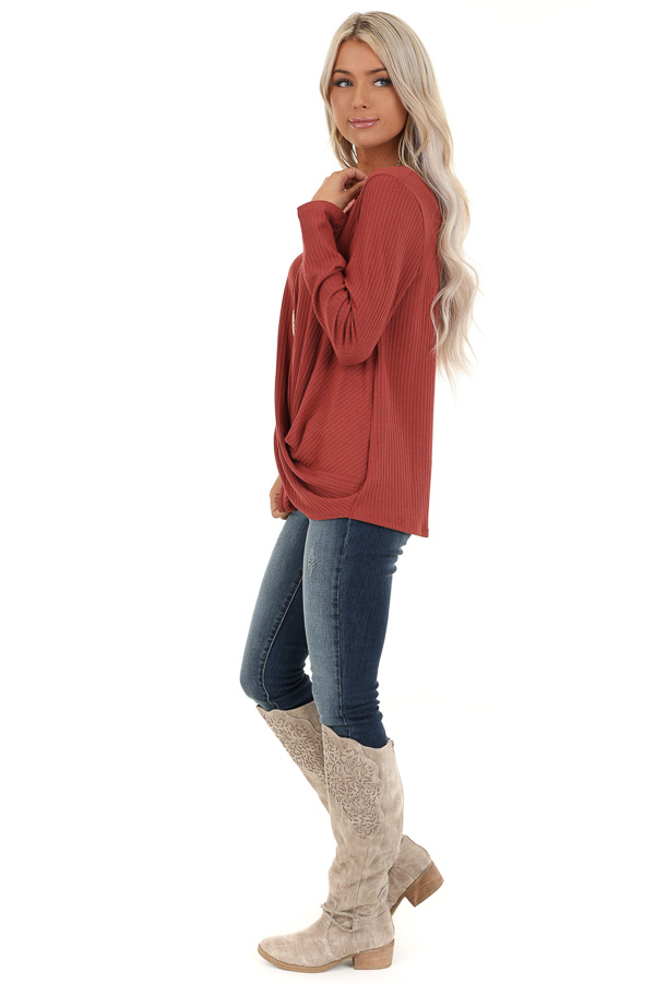 Brick Ribbed Knit Top with Long Sleeves and Twisted Hemline side full body
