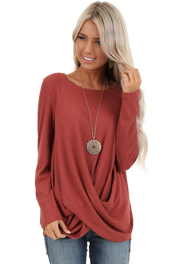 Brick Ribbed Knit Top with Long Sleeves and Twisted Hemline front close up