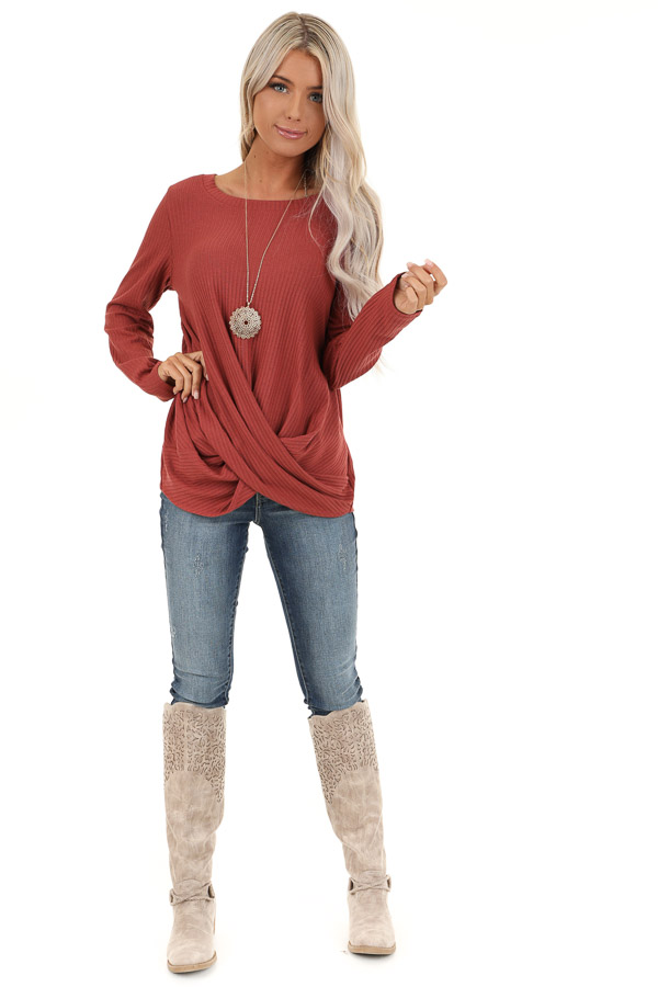 Brick Ribbed Knit Top with Long Sleeves and Twisted Hemline front full body