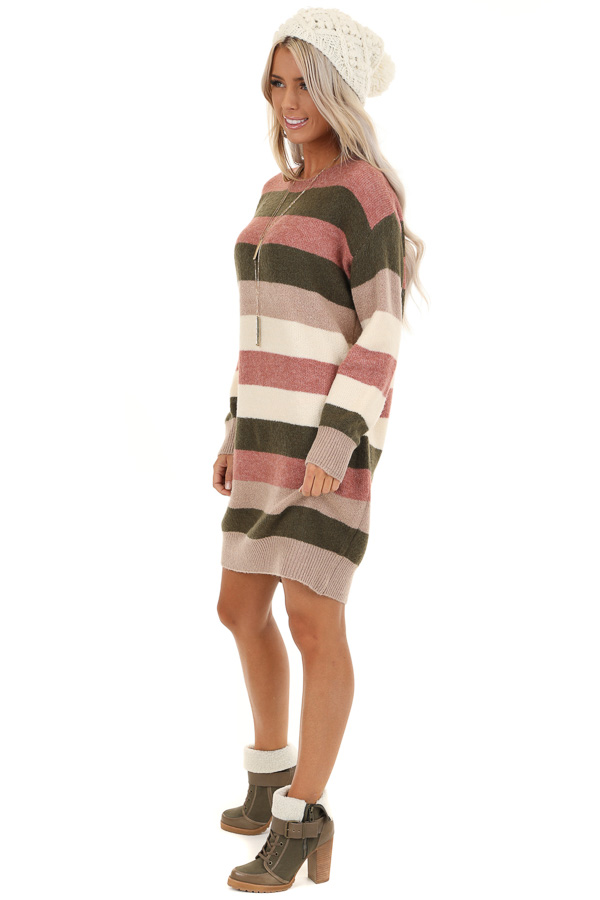 Mauve and Olive Striped Long Sleeve Sweater Dress side full body
