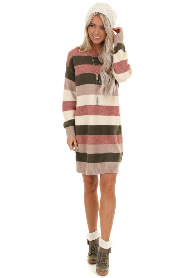 Mauve and Olive Striped Long Sleeve Sweater Dress front full body