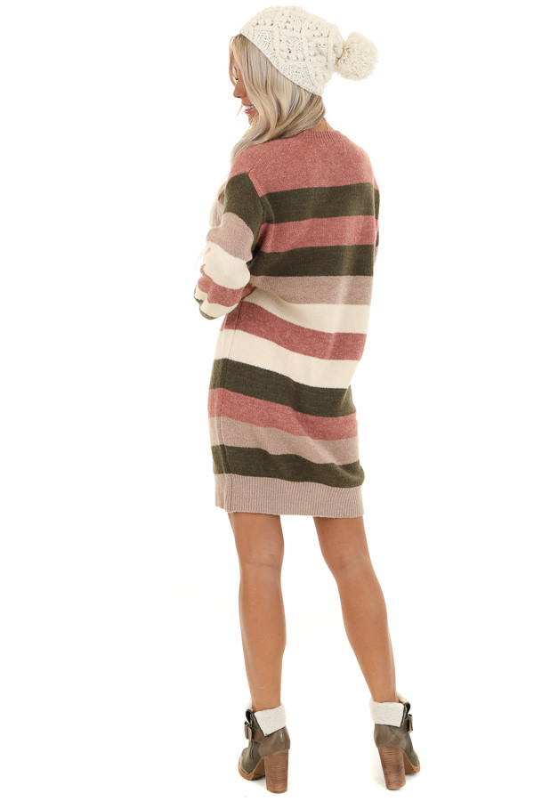 Mauve and Olive Striped Long Sleeve Sweater Dress back full body
