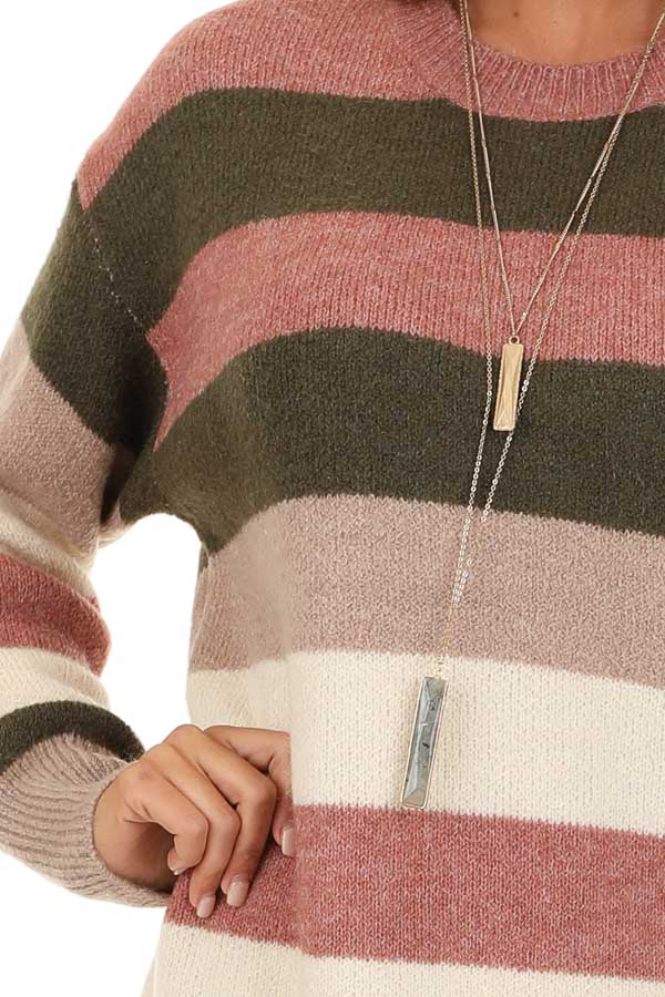 Mauve and Olive Striped Long Sleeve Sweater Dress detail