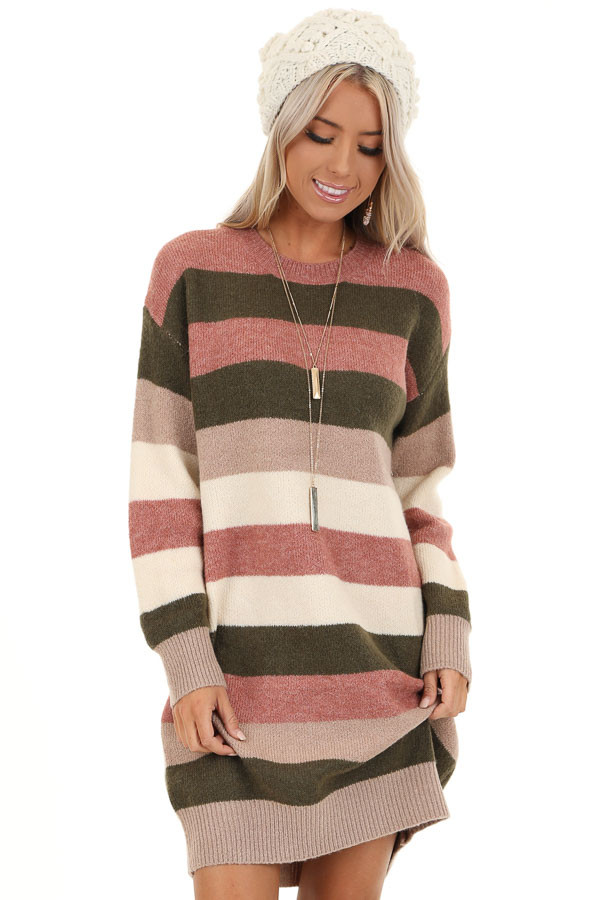 Mauve and Olive Striped Long Sleeve Sweater Dress front close up