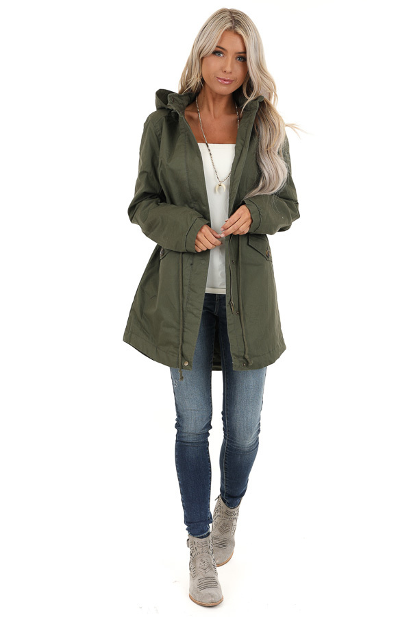 Olive Green Fully Lined Coat with Furry Hood Detail - Lime ...