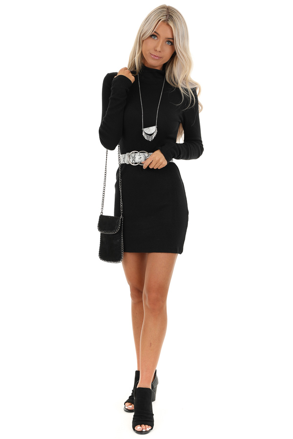 Black Long Sleeve Knit Mini Dress with Turtleneck Detail front full body