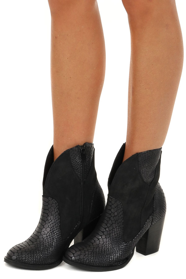 Black Snake Print Textured Bootie with Black Stacked Heel side view