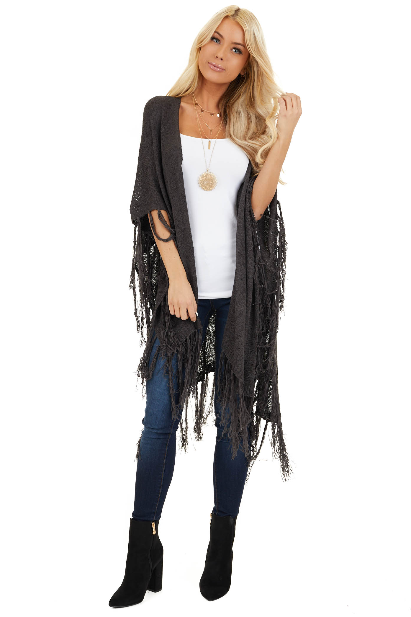 Charcoal Open Front Draped Cardigan Shawl with Fringe front full body