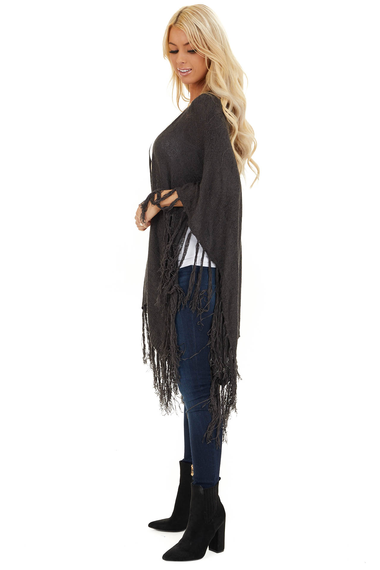 Charcoal Open Front Draped Cardigan Shawl with Fringe side full body