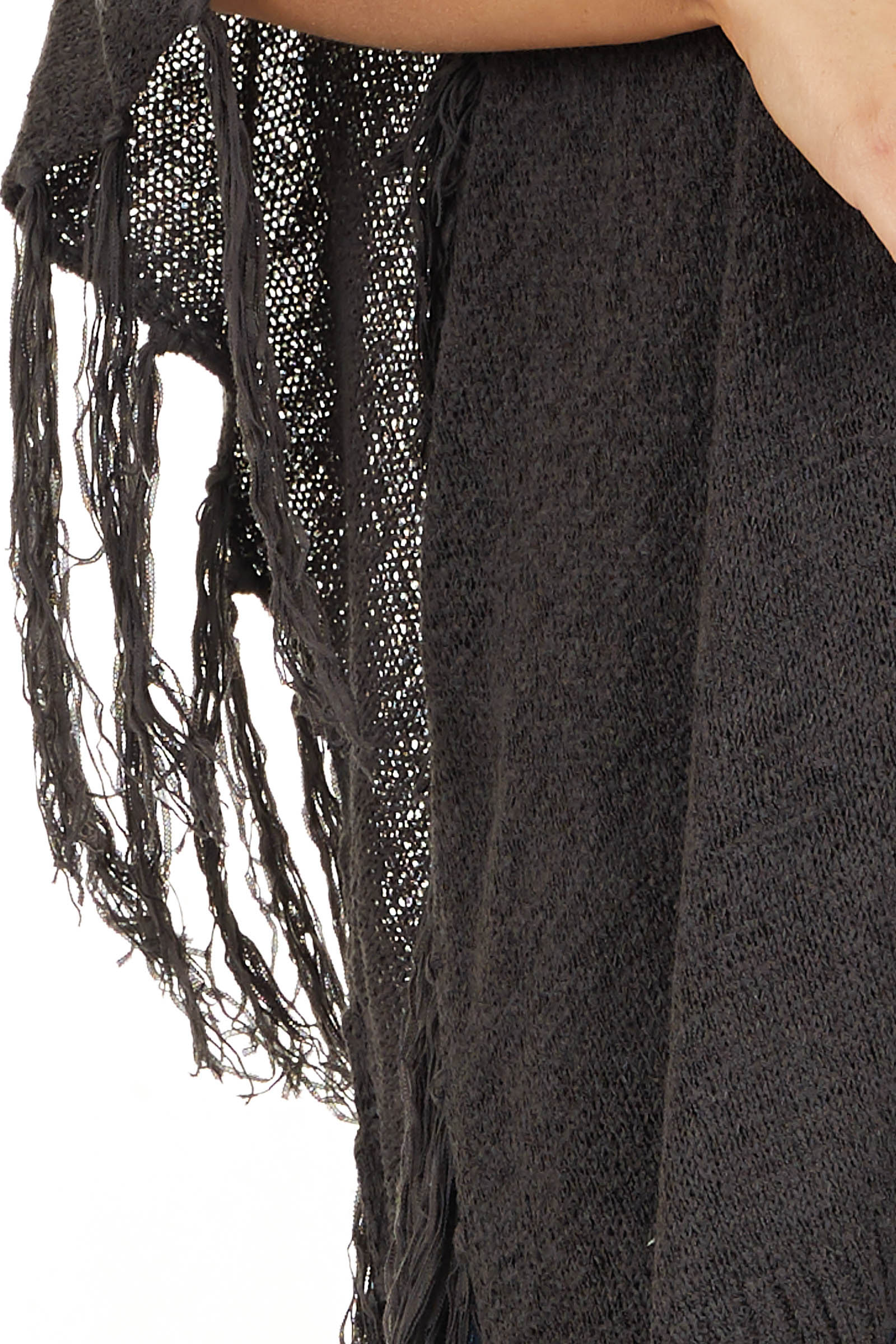 Charcoal Open Front Draped Cardigan Shawl with Fringe detail