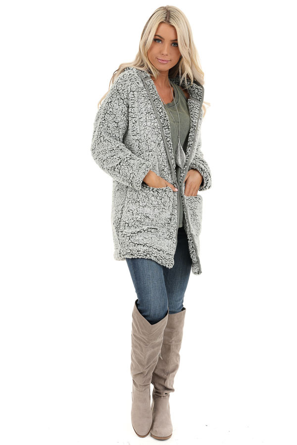 Pine and Frost Fluffy Hooded Cardigan with Pockets front full body