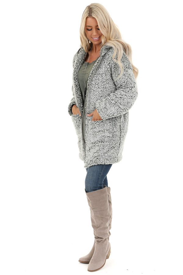 Pine and Frost Fluffy Hooded Cardigan with Pockets side full body