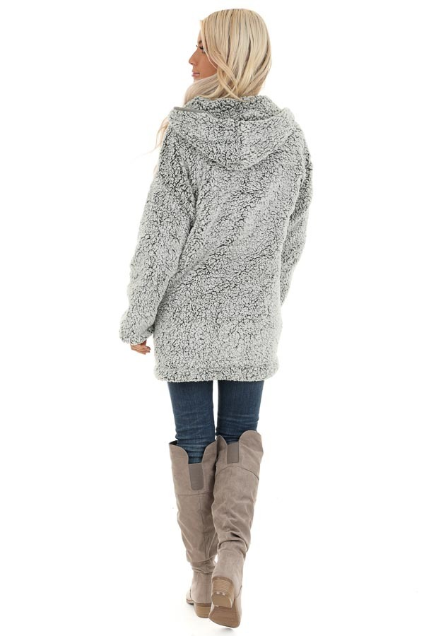 Pine and Frost Fluffy Hooded Cardigan with Pockets back full body
