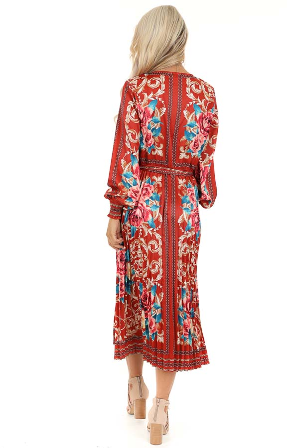 Rust Floral Print Silky Maxi Dress with Waist Tie Detail back full body