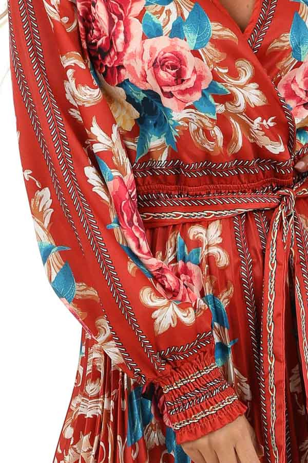Rust Floral Print Silky Maxi Dress with Waist Tie Detail detail
