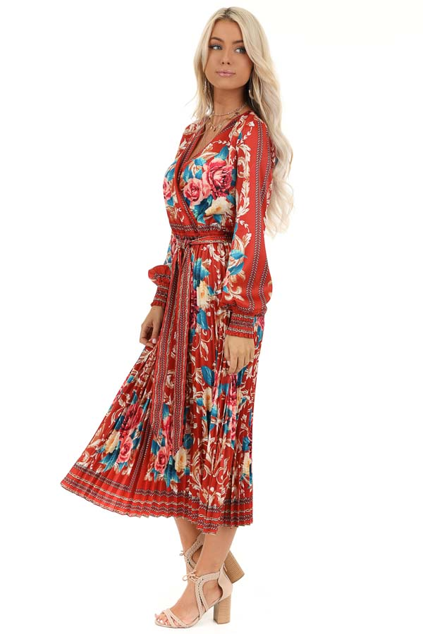 Rust Floral Print Silky Maxi Dress with Waist Tie Detail side full body