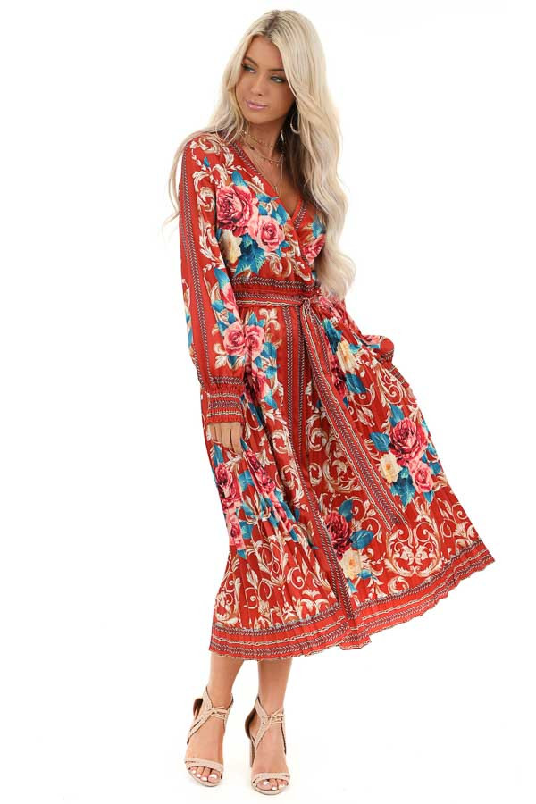 Rust Floral Print Silky Maxi Dress with Waist Tie Detail front full body