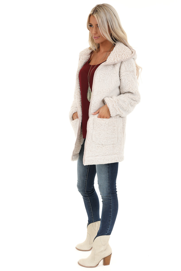 Oatmeal and Cream Fluffy Hooded Cardigan with Pockets side full body