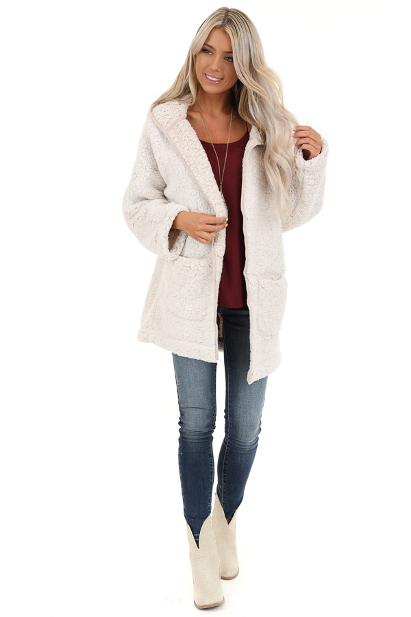 Oatmeal and Cream Fluffy Hooded Cardigan with Pockets front full body