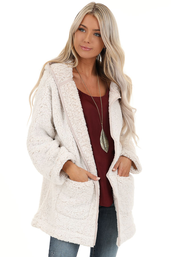 Oatmeal and Cream Fluffy Hooded Cardigan with Pockets front close up