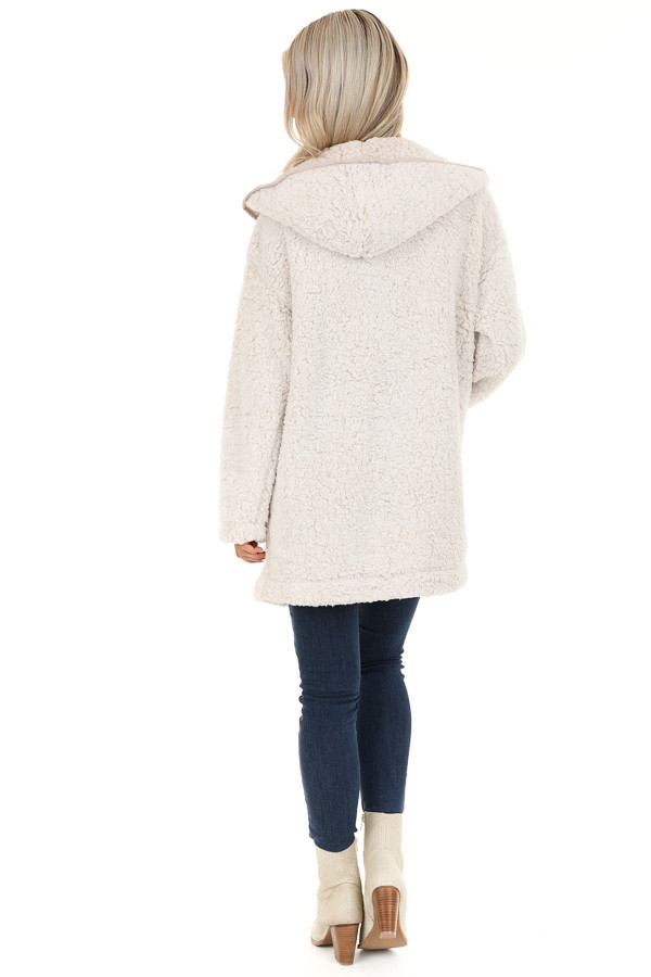 Oatmeal and Cream Fluffy Hooded Cardigan with Pockets back full body