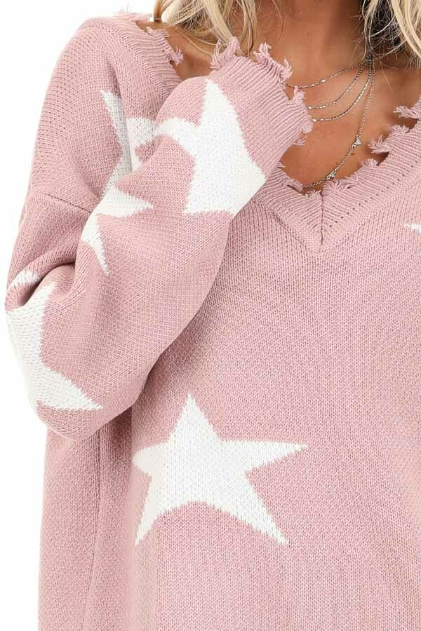 Blush Pink and Ivory Off the Shoulder Knit Sweater detail