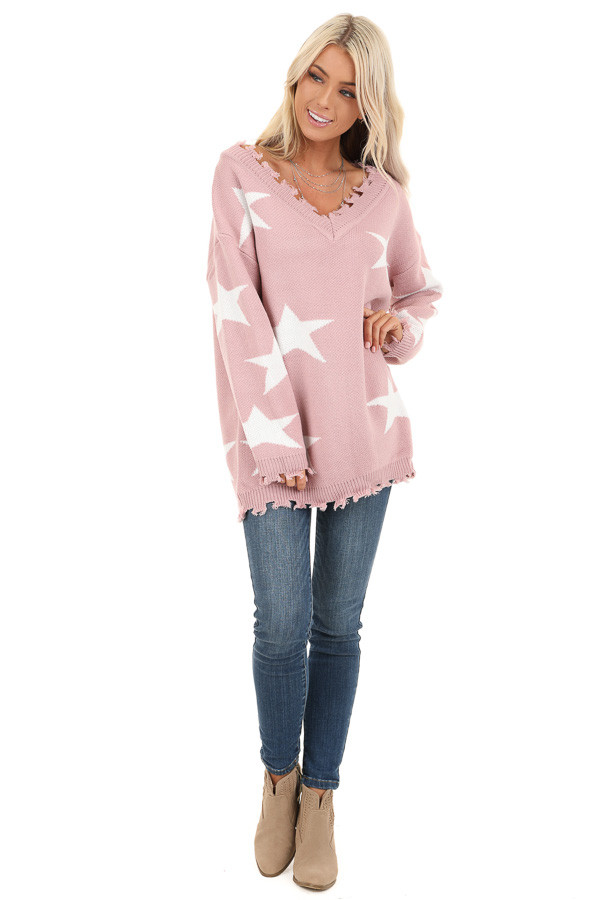 Blush Pink and Ivory Off the Shoulder Knit Sweater front full body
