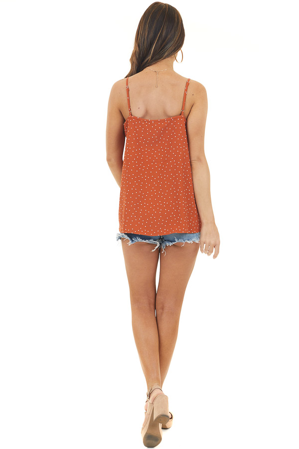 Rust and Ivory Polka Dot Spaghetti Strap Top