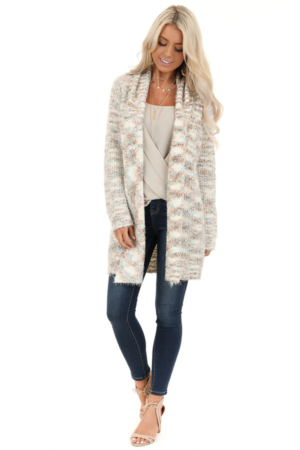 Multi Color Collared Open Front Long Sleeve Cardigan front full body