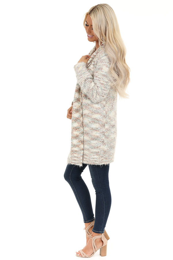 Multi Color Collared Open Front Long Sleeve Cardigan side full body